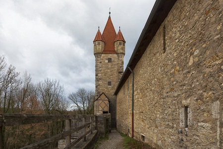 Tower of the fortress wall in the city of Rothenburg ob der Tauber, Bavaria, Germany