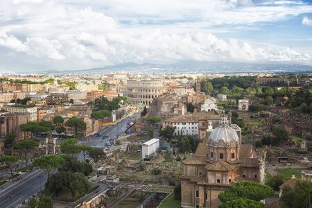 Beautiful view of Rome from height, Italy