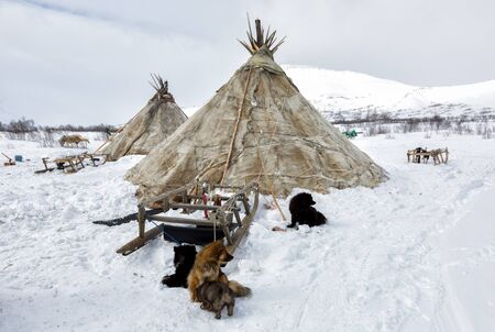 I pastori di cervi Nenets choom in una giornata invernale
