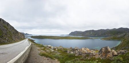 Norway. Winding highway along the fjord
