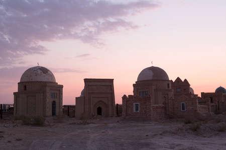Necropolis Mizdakhan on sunrise, Xojayli, near Nukus, Uzbekistan