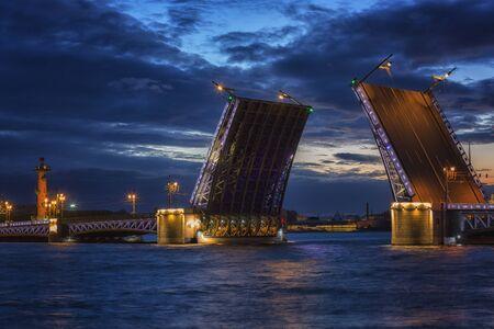 Open Dvortsovy Bridge, Saint-Petersburg, Russia