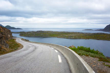 Norway. Winding highway along the mountains