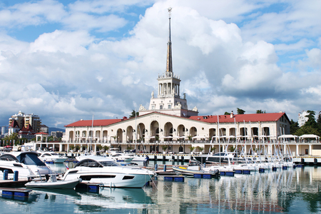 water transportation: Building of the marine station in the city of Sochi in Russia