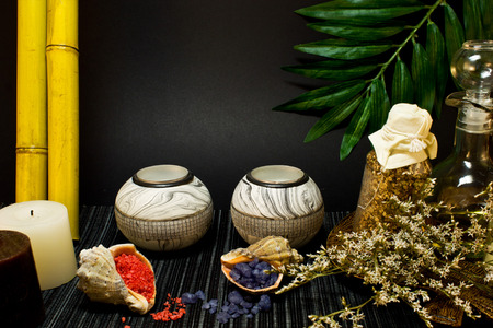 bath salts: Still life of tools for massages, candles and bath salts in shells