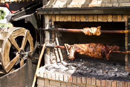pollo rostizado: Asador con cerdo y pollo sobre las brasas, girar por la rueda de agua