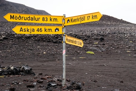 Signpost  on yourney to Askja