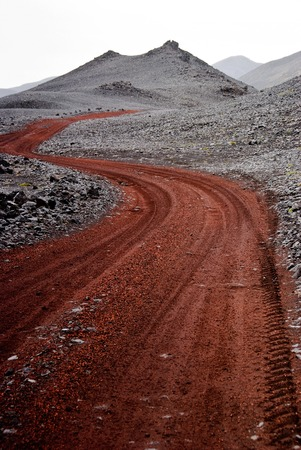 desertification: Red path in wasteland - Iceland Stock Photo