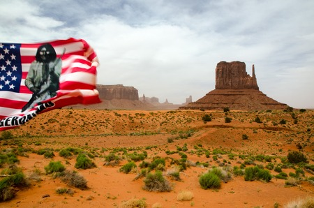 navajo land: Monument Valley - valley of the rock and flag - Navajo national reservation Stock Photo