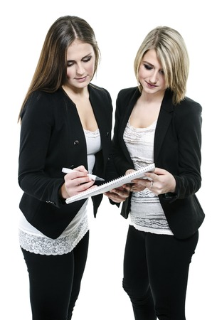 inventing: Two young business women planning