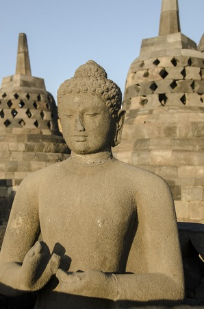 Statue Buddha, Borobudur, Java,Mahayana Buddhist Temple in Magelang, Central Java.  photo