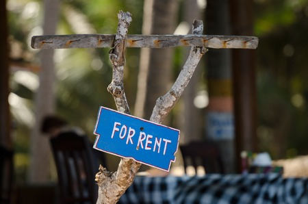 renter: blue sign For rent on the wood