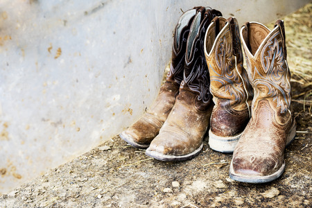 western attire: Two pairs of cowboy footwear