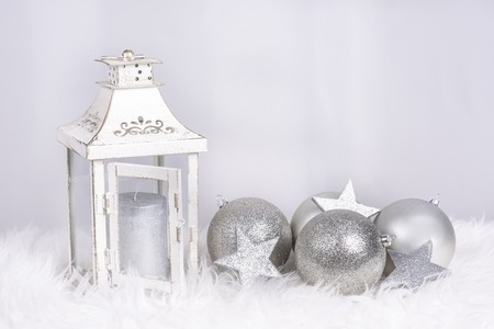 Christmas decoration with lamp and balls in siver color and with space for wishes