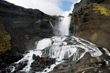 Ofaerufoss Wasserfall in Eldgja Canyon - Island