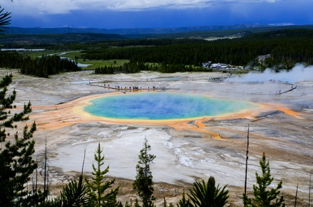 The Prismatic eye - hot pool in national park Yellowstone view from the hill Standard-Bild