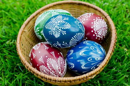hand-decorated eggs for Easter