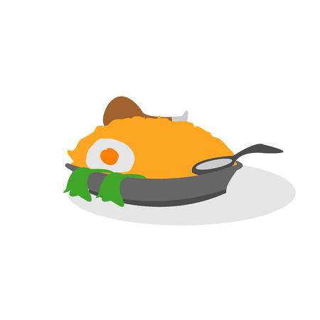 De illustratie van de gelukkige maaltijd gebraden rijstkip Stockfoto - 87062095