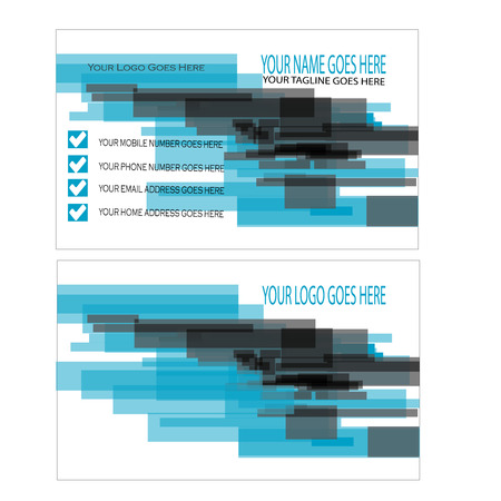 Blue and black abstract business card template