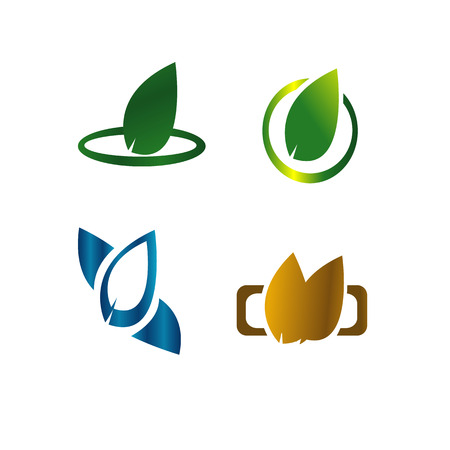 abstract recycle arrows: Leaves botanical green logo concept