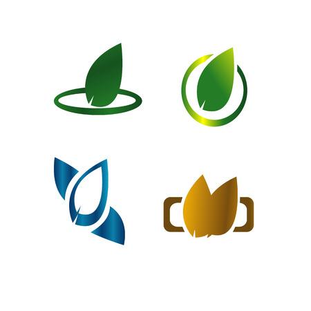Verlaat het concept van het botanische groene embleem