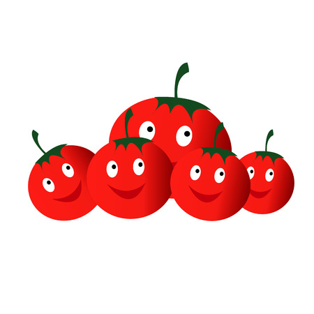 red Vegetables tomatoes smiling Ilustracja