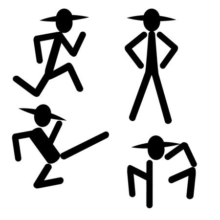 silhouet man schoppen lopende permanent pictogram banner logo vector Stock Illustratie