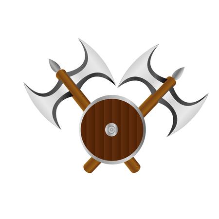 Double axe and shield logo banner