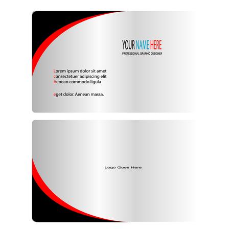 Zilver zwart en rood visitekaartje Stock Illustratie