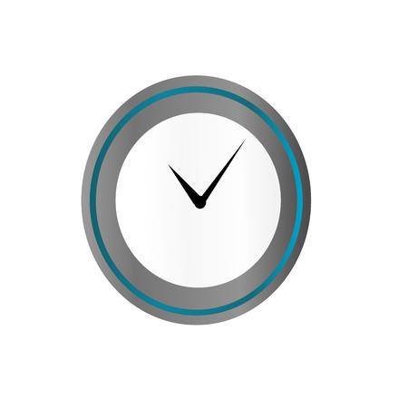 Klok in blauwe en zilveren stijl geïsoleerd op de achtergrond. Klok pictogram paginasymbool voor uw website ontwerp Klok pictogram logo app UI Klok pictogram Vector Stock Illustratie