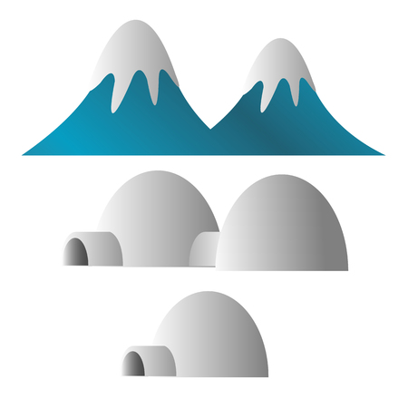 mountain covered with snow and eskimo ice house illustration Illustration