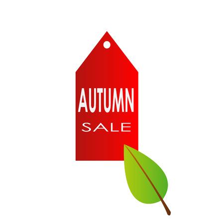herfst verkoop met rood label banner pictogram en herfst bladeren