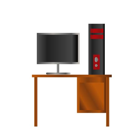 zwart en rood ontwerp pc-computer en lcd op de houten tafel illustratie geïsoleerde achtergrond Stock Illustratie