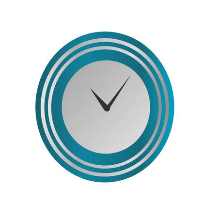 Klokpictogram in zilveren en blauwe stijl, tijdopnemer op geïsoleerde achtergrond. Vector ontwerpelement Stock Illustratie