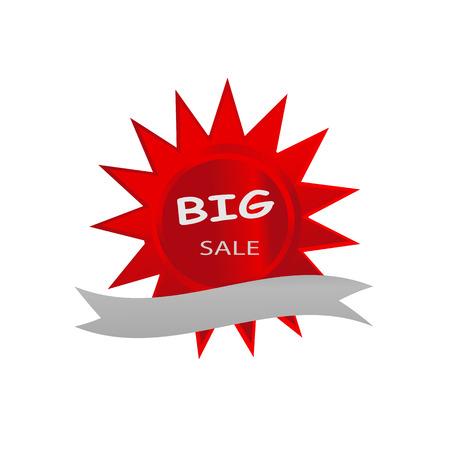 Groot rood de sterontwerp van de verkooppictogram banner