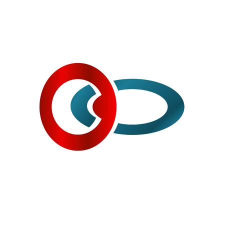 Illustratie bedrijfslogo met rood en blauw cirkelconcept