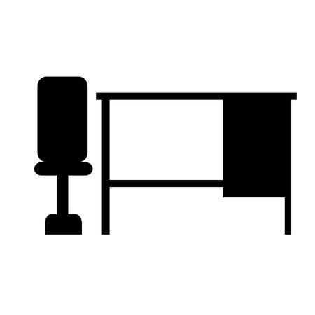 zwarte stoel bureau tafel pictogram banner illustratie geïsoleerde achtergrond