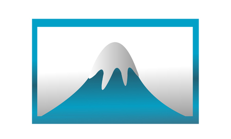 Berg bedekt met ijs in het blauwe frame Stock Illustratie