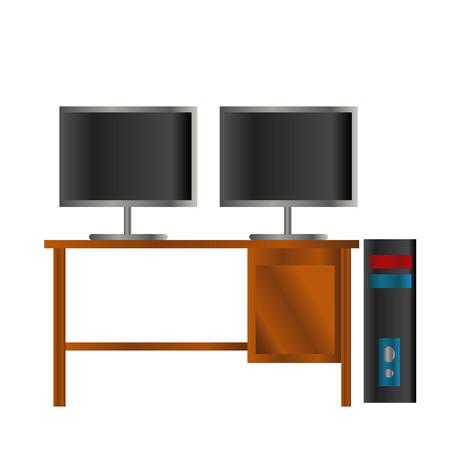 zwarte en blauwe pc met dubbel zwart lcd-scherm op de houten tafel geïsoleerde achtergrond