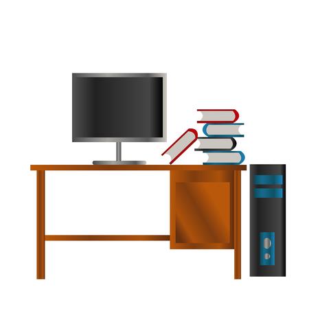 rood blauw zwart boek en lcd-scherm op de houten tafel en zwarte en blauwe doos pc Stock Illustratie