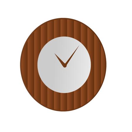 Klokpictogram in houten bamboestijl op geïsoleerde achtergrond. Vector ontwerpelement Stock Illustratie