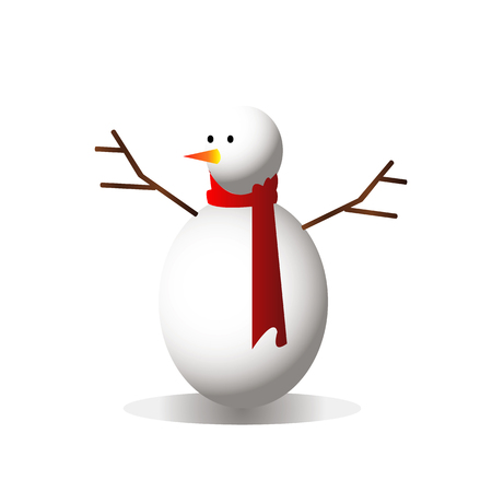 Snowman using the red hat on white isolated background