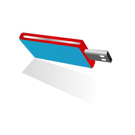 3d blauwe USB-flitsschijf met rood en zilveren zijontwerpgeheugen dat op de witte achtergrond wordt geïsoleerd Stock Illustratie