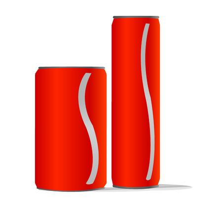 twee rode aluminiumblikken met één witte lijn geïsoleerde achtergrond