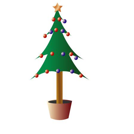 kerstboom ilustration op witte geïsoleerde achtergrond