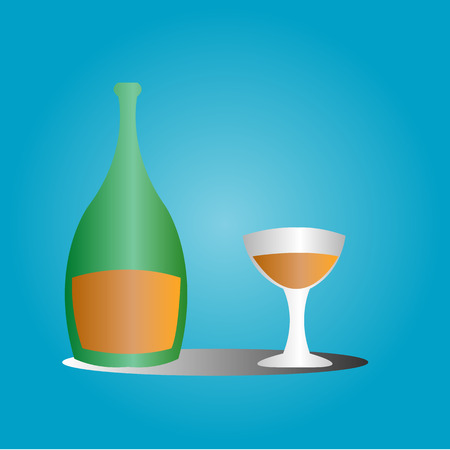 glas en groene fles gevuld met sap bier whisky vloeibare blauwe achtergrond