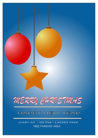 Vrolijke christmass en de gelukkige brochure van de jaarvlieger met blauwe achtergrond Stock Illustratie
