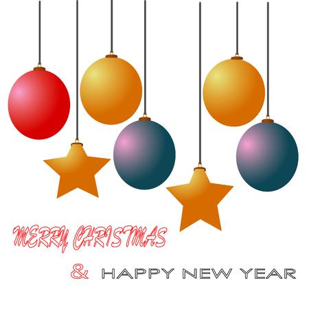 Vrolijke Kerstmis en gelukkige nieuwe jaarbal speelt decoratieillustratie geïsoleerde achtergrond mee