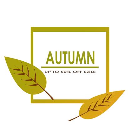 Herfst verkoop versieren met twee bladeren voor het winkelen verkoop promo poster en frame leaflet of web banner Vector Stock Illustratie