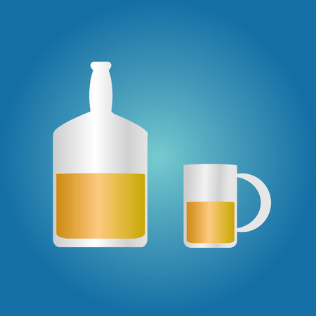 whiskey beer juice bottle and glass filled with liquid illustration on blue background